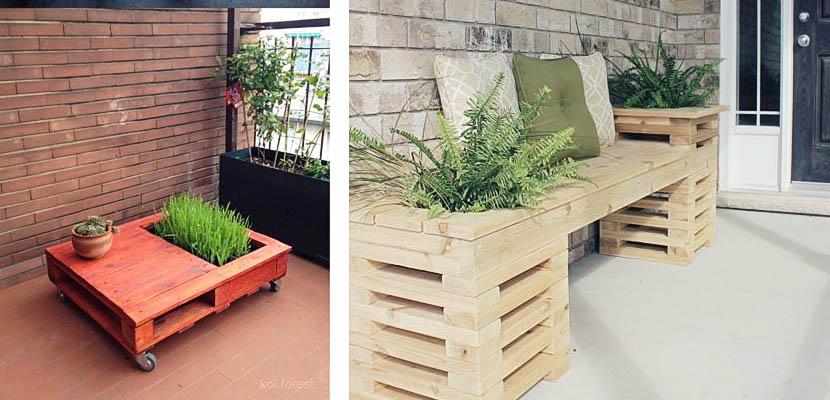jardineras de palets para la terraza y el jardin