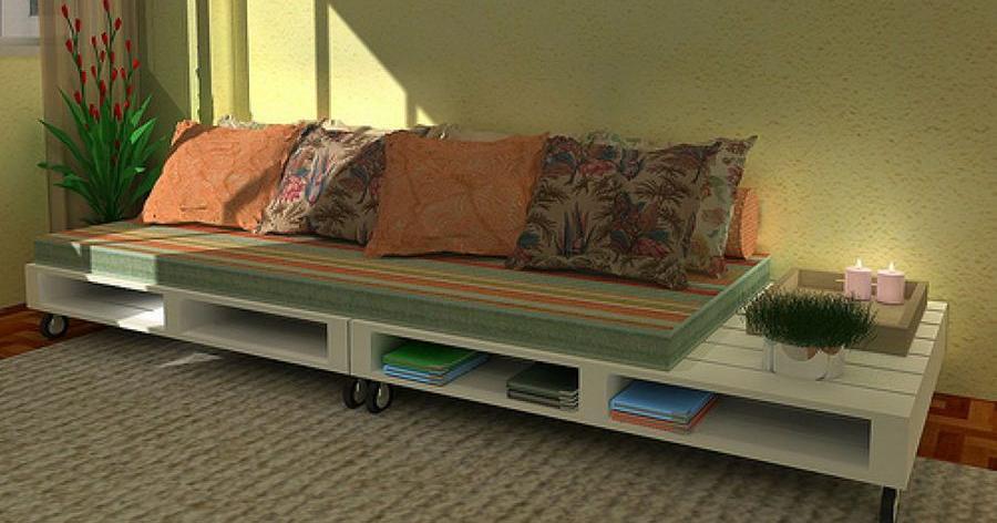 sofa fabricado con madera